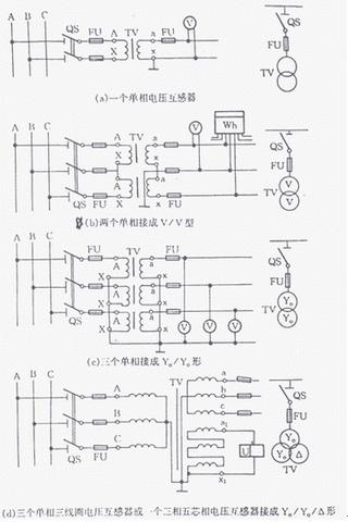电压互感器在三相电路中常用的接线方式有四种